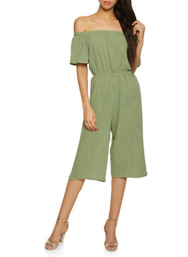 Linen Cropped Off the Shoulder Jumpsuit,OLIVE,large