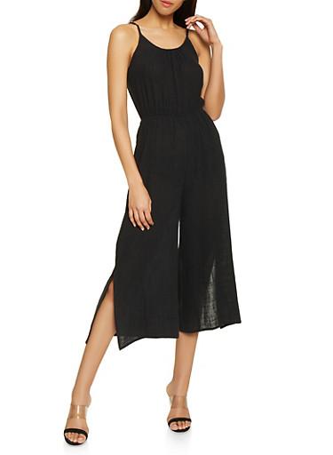 Linen Wide Leg Jumpsuit,BLACK,large