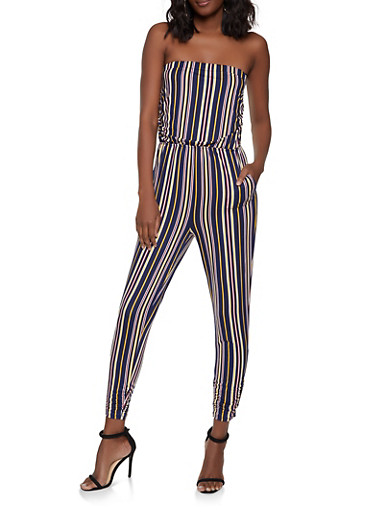 Striped Soft Knit Jumpsuit,NAVY,large