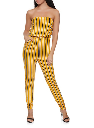 Striped Ruched Leg Jumpsuit,MUSTARD,large
