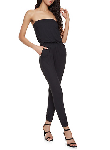 Strapless Soft Knit Jumpsuit,BLACK,large