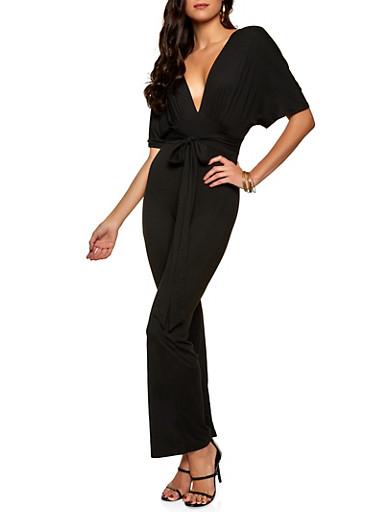 Plunge Soft Knit Jumpsuit,BLACK,large