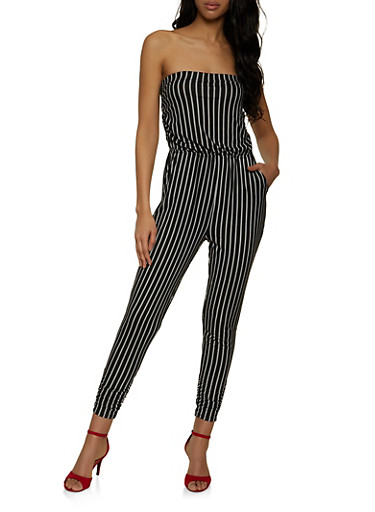 Striped Strapless Jumpsuit,BLACK/WHITE,large
