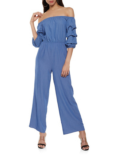 Off the Shoulder Tiered Balloon Sleeve Jumpsuit,BLUE,large