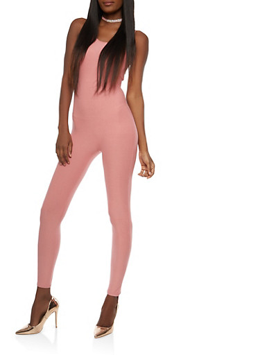 Soft Knit Sleeveless Catsuit,PINK,large