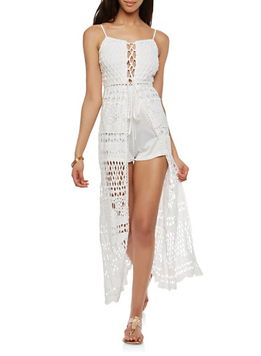 Lace Up Crochet Maxi Romper,WHITE,large