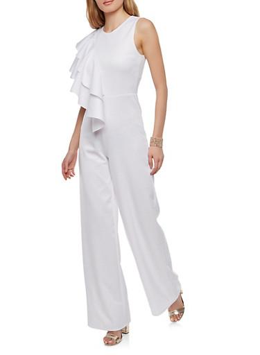 Asymmetrical Ruffle Jumpsuit,WHITE,large