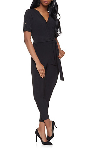 Faux Wrap Tie Waist Jumpsuit,BLACK,large