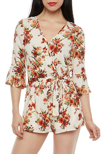 Floral Bell Sleeve Belted Romper,TAN,large