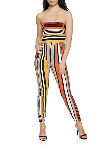 Striped Tube Jumpsuit | 1045073371916,RUST,large