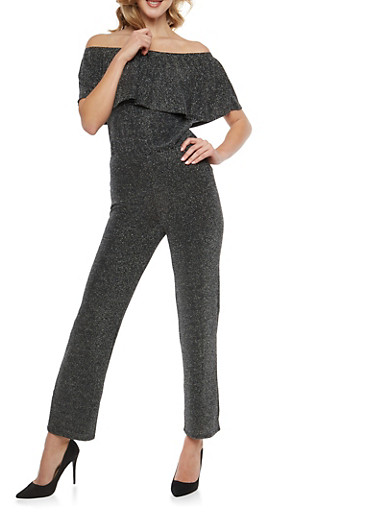 Glitter Knit Off the Shoulder Jumpsuit,BLACK/SILVER,large