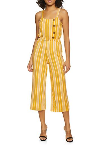 Striped Soft Knit Palazzo Jumpsuit,MUSTARD,large