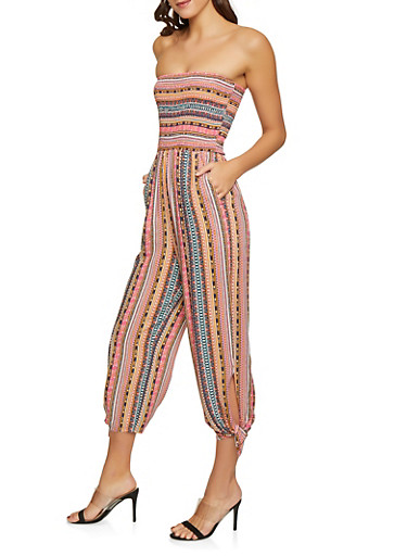 Border Print Tube Jumpsuit,RUST,large