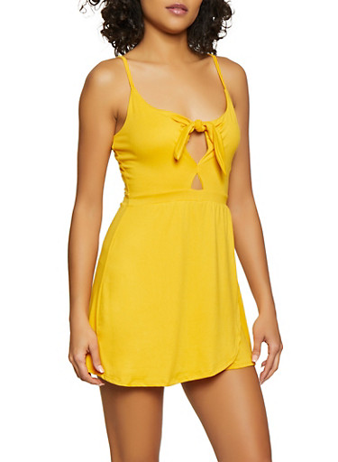 Solid Knot Front Keyhole Overlay Romper,MUSTARD,large