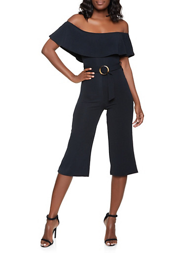 Ruffled Off the Shoulder Jumpsuit,BLACK,large