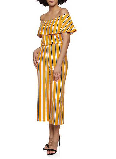 Ruffled Off the Shoulder Striped Jumpsuit,MUSTARD,large