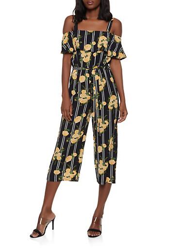 Striped Floral Crepe Knit Jumpsuit,BLACK,large