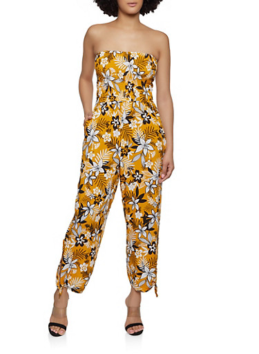 Floral Tie Leg Jumpsuit,MUSTARD,large
