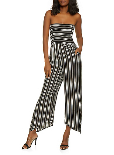 Striped Split Leg Jumpsuit,BLACK,large