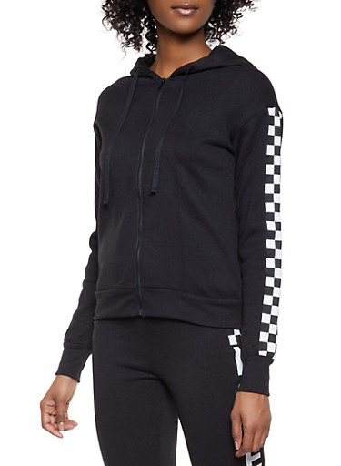 Checkered Detail Zip Front Sweatshirt,BLACK,large