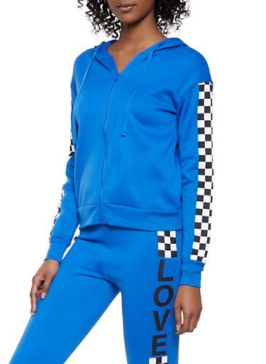 Checkered Detail Zip Front Sweatshirt,BLUE,large
