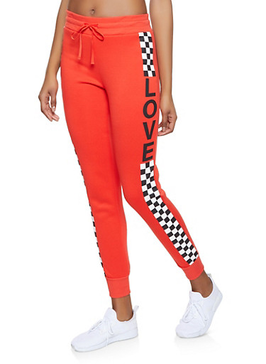 Love Checkered Detail Sweatpants,RED,large