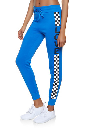 Love Checkered Detail Sweatpants,BLUE,large