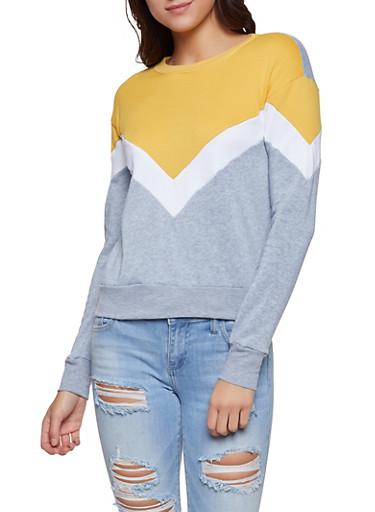Chevron Color Block Sweatshirt,TAN,large