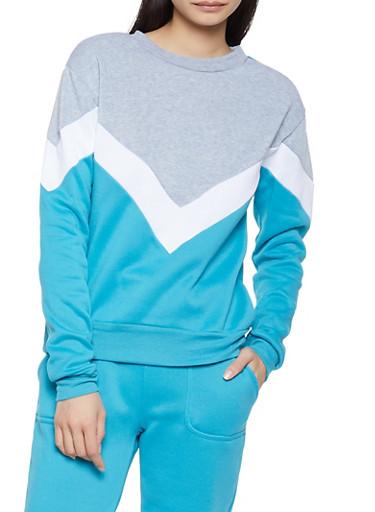 Chevron Color Block Sweatshirt,BLUE,large