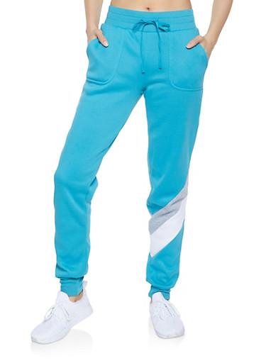 Chevron Detail Sweatpants,BLUE,large