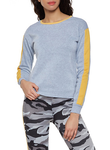 Contrast Trim Sweatshirt,HEATHER,large
