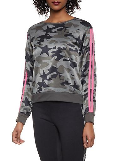Camo Star Print Varsity Stripe Sweatshirt,OLIVE,large