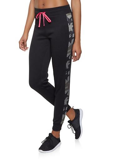 Camo Trim Sweatpants,BLACK,large