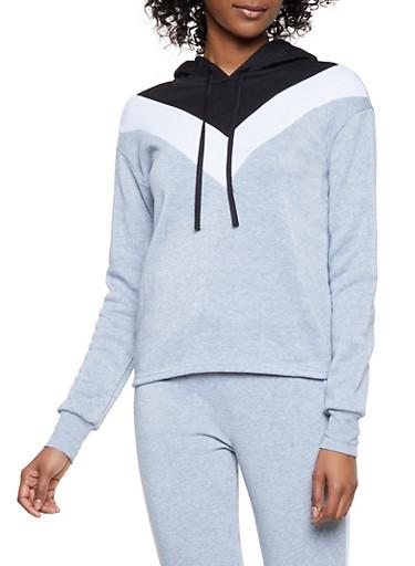Chevron Color Block Pullover Sweatshirt,HEATHER,large