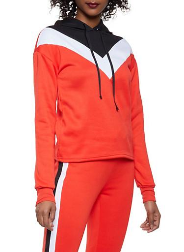 Chevron Color Block Pullover Sweatshirt,RED,large