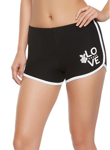 Love Graphic Dolphin Shorts,BLACK,large