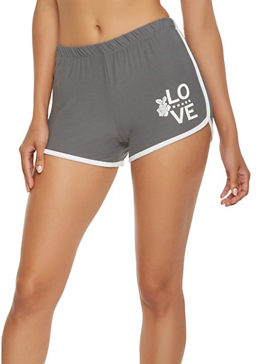 Love Graphic Soft Knit Dolphin Shorts,CHARCOAL,large