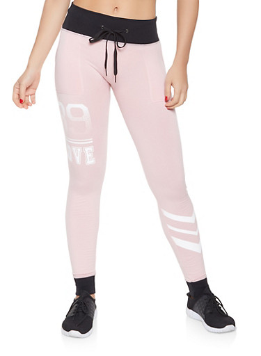 Love Graphic Contrast Trim Joggers,PINK,large