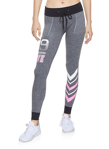Love Graphic Contrast Trim Joggers,HEATHER,large