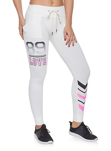 Love Graphic Joggers,IVORY,large