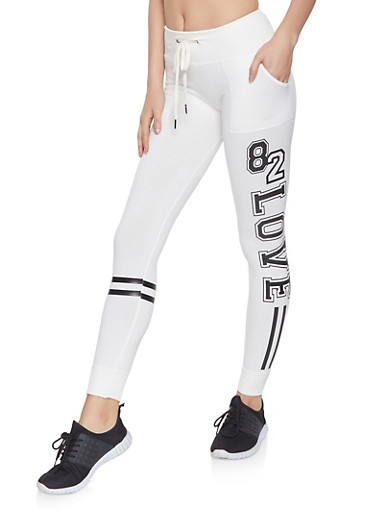 Love Graphic Fleece Lined Joggers,IVORY,large