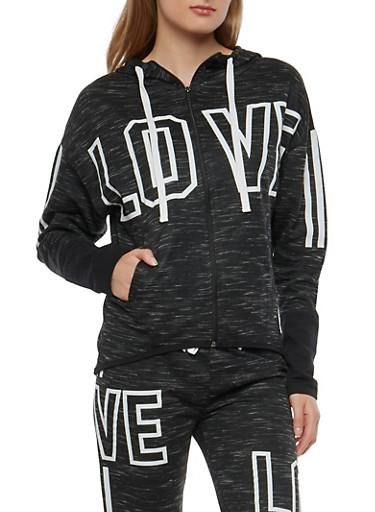 Love Graphic Zip Up Sweatshirt,CHARCOAL,large