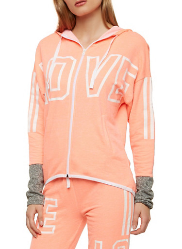 Love Graphic Zip Up Sweatshirt,CORAL,large
