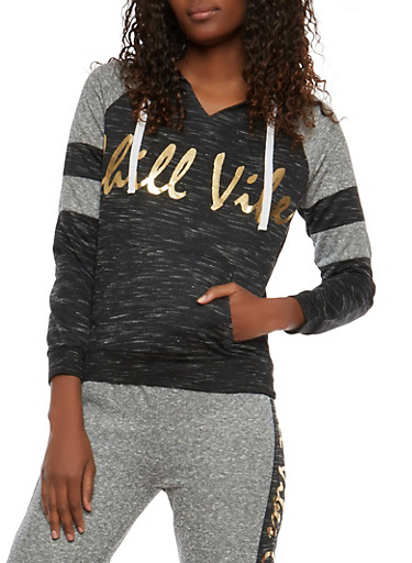 Chill Vibes Graphic Pullover Sweatshirt,BLACK,large