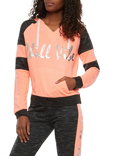 Chill Vibes Graphic Pullover Sweatshirt,CORAL,large