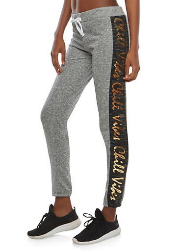 Chill Vibes Graphic Sweatpants,BLACK,large