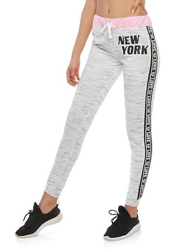 Graphic Trim Activewear Sweatpants,MAUVE,large