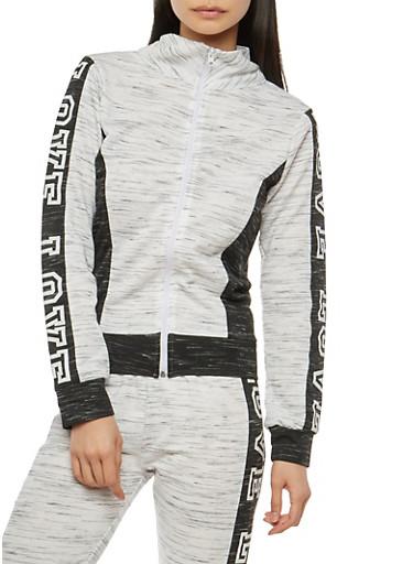 Love Graphic Color Blocked Zip Activewear Top,HEATHER,large