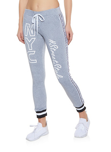 Street Style Graphic Lace Up Joggers,HEATHER,large