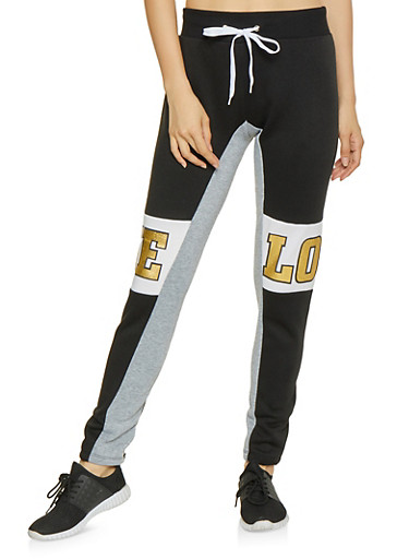 Love Graphic Color Block Joggers,BLACK,large